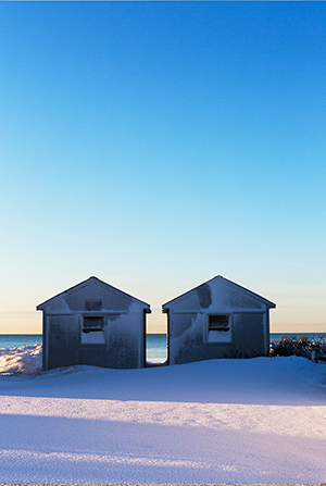 Beach Sheds in Snow, Craigville Beach, 2016
